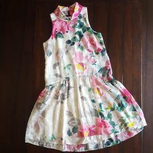 High Neck Floral Dress